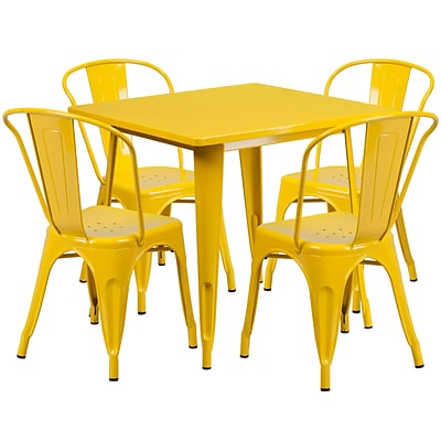 Flash Furniture 31.5 Square Yellow Metal Indoor-Outdoor Table Set with 4 Stack Chairs (ET-CT002-4-30-YL-GG)