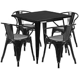 Flash Furniture 31.5 Square Black Metal Indoor-Outdoor Table Set with 4 Arm Chairs (ET-CT002-4-70-