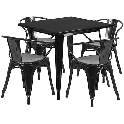 Flash Furniture 31.5 Square Black Metal Indoor-Outdoor Table Set with 4 Arm Chairs (ET-CT002-4-70-BK-GG)