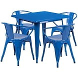 Flash Furniture 31.5 Square Blue Metal Indoor-Outdoor Table Set with 4 Arm Chairs (ET-CT002-4-70-B