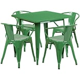 Flash Furniture 31.5 Square Green Metal Indoor-Outdoor Table Set with 4 Arm Chairs (ET-CT002-4-70-