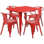 Flash Furniture 31.5 Square Red Metal Indoor-Outdoor Table Set with 4 Arm Chairs (ET-CT002-4-70-RE