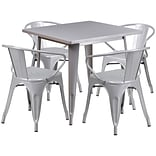Flash Furniture 31.5 Square Silver Metal Indoor-Outdoor Table Set with 4 Arm Chairs (ET-CT002-4-70