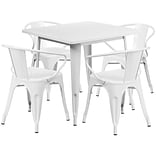 Flash Furniture 31.5 Square White Metal Indoor-Outdoor Table Set with 4 Arm Chairs (ET-CT002-4-70-
