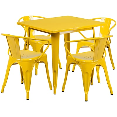 Flash Furniture 31.5 Square Yellow Metal Indoor-Outdoor Table Set with 4 Arm Chairs (ET-CT002-4-70-YL-GG)