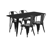 Flash Furniture 31.5 x 63 Rectangular Black Metal Indoor-Outdoor Table Set with 4 Stack Chairs (