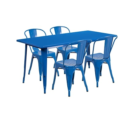Flash Furniture 31.5 x 63 Rectangular Blue Metal Indoor-Outdoor Table Set with 4 Stack Chairs (ET-CT005-4-30-BL-GG)