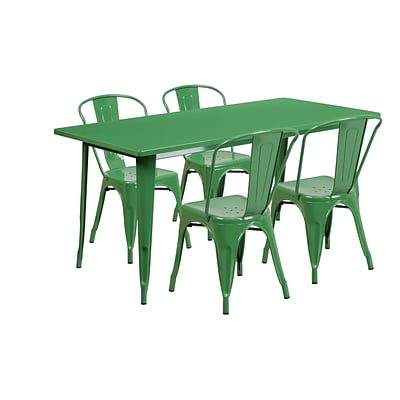 Flash Furniture 31.5 x 63 Rectangular Green Metal Indoor-Outdoor Table Set with 4 Stack Chairs (ET-CT005-4-30-GN-GG)
