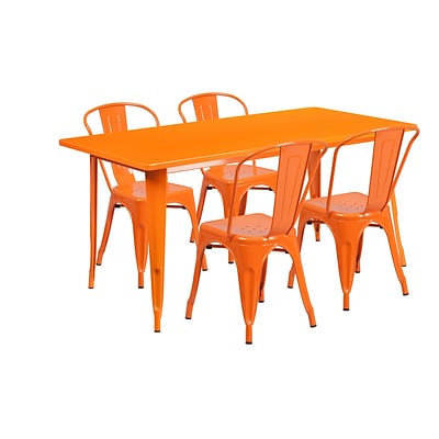 Flash Furniture 31.5 x 63 Rectangular Orange Metal Indoor-Outdoor Table Set with 4 Stack Chairs (ET-CT005-4-30-OR-GG)