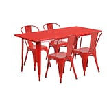 Flash Furniture 31.5 x 63 Rectangular Red Metal Indoor-Outdoor Table Set with 4 Stack Chairs (ET