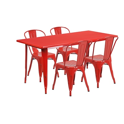 Flash Furniture 31.5 x 63 Rectangular Red Metal Indoor-Outdoor Table Set with 4 Stack Chairs (ET-CT005-4-30-RED-GG)