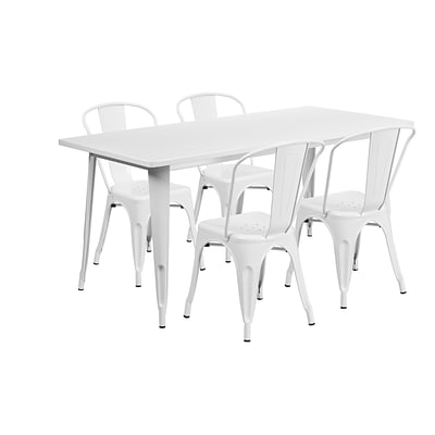 Flash Furniture 31.5 x 63 Rectangular White Metal Indoor-Outdoor Table Set with 4 Stack Chairs (ET-CT005-4-30-WH-GG)