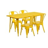 Flash Furniture 31.5 x 63 Rectangular Yellow Metal Indoor-Outdoor Table Set with 4 Stack Chairs