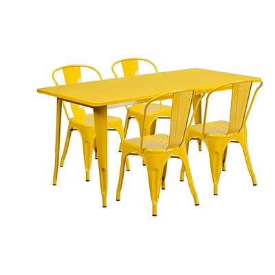 Flash Furniture 31.5 x 63 Rectangular Yellow Metal Indoor-Outdoor Table Set with 4 Stack Chairs (ET-CT005-4-30-YL-GG)