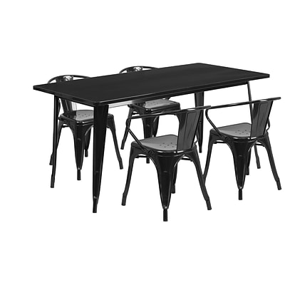 Flash Furniture 31.5 x 63 Rectangular Black Metal Indoor-Outdoor Table Set with 4 Arm Chairs (ET-CT005-4-70-BK-GG)