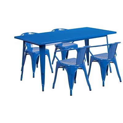 Flash Furniture 31.5 x 63 Rectangular Blue Metal Indoor-Outdoor Table Set with 4 Arm Chairs (ET-CT005-4-70-BL-GG)