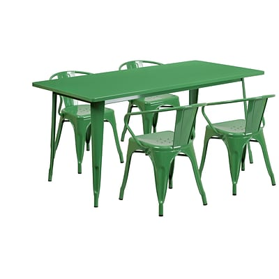 Flash Furniture 31.5 x 63 Rectangular Green Metal Indoor-Outdoor Table Set with 4 Arm Chairs (ET-CT005-4-70-GN-GG)