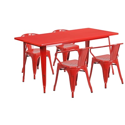 Flash Furniture 31.5 x 63 Rectangular Red Metal Indoor-Outdoor Table Set with 4 Arm Chairs (ET-CT005-4-70-RED-GG)