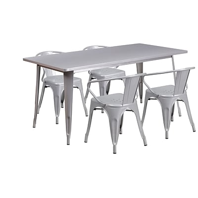 Flash Furniture 31.5 x 63 Rectangular Silver Metal Indoor-Outdoor Table Set with 4 Arm Chairs (ET-CT005-4-70-SIL-GG)