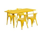 Flash Furniture 31.5 x 63 Rectangular Yellow Metal Indoor-Outdoor Table Set with 4 Arm Chairs (E