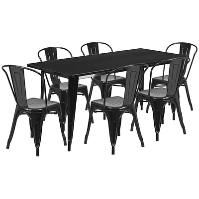 Flash Furniture 31.5 x 63 Rectangular Black Metal Indoor-Outdoor Table Set with 6 Stack Chairs (ET-CT005-6-30-BK-GG)
