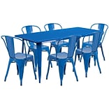 Flash Furniture 31.5 x 63 Rectangular Blue Metal Indoor-Outdoor Table Set with 6 Stack Chairs (E