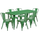Flash Furniture 31.5 x 63 Rectangular Green Metal Indoor-Outdoor Table Set with 6 Stack Chairs (