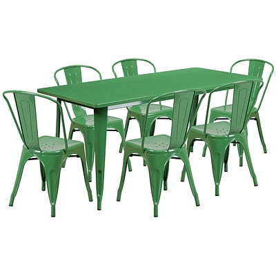 Flash Furniture 31.5 x 63 Rectangular Green Metal Indoor-Outdoor Table Set with 6 Stack Chairs (ET-CT005-6-30-GN-GG)
