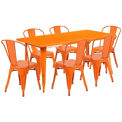 Flash Furniture 31.5 x 63 Rectangular Orange Metal Indoor-Outdoor Table Set with 6 Stack Chairs (ET-CT005-6-30-OR-GG)