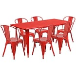 Flash Furniture 31.5 x 63 Rectangular Red Metal Indoor-Outdoor Table Set with 6 Stack Chairs (ET