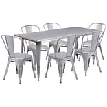 Flash Furniture 31.5 x 63 Rectangular Silver Metal Indoor-Outdoor Table Set with 6 Stack Chairs