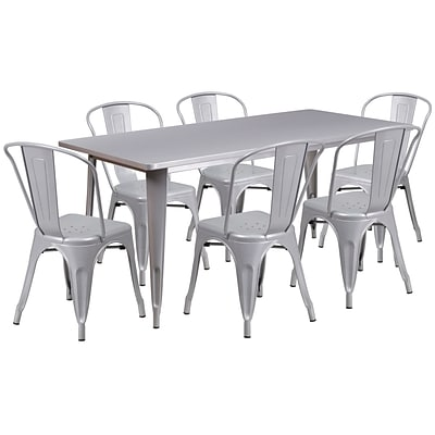 Flash Furniture 31.5 x 63 Rectangular Silver Metal Indoor-Outdoor Table Set with 6 Stack Chairs (ET-CT005-6-30-SIL-GG)