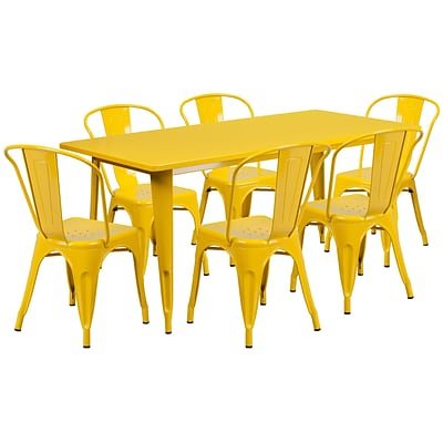 Flash Furniture 31.5 x 63 Rectangular Yellow Metal Indoor-Outdoor Table Set with 6 Stack Chairs (ET-CT005-6-30-YL-GG)