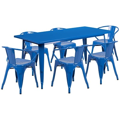 Flash Furniture 31.5 x 63 Rectangular Blue Metal Indoor-Outdoor Table Set with 6 Arm Chairs (ET-CT005-6-70-BL-GG)