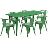Flash Furniture 31.5 x 63 Rectangular Green Metal Indoor-Outdoor Table Set with 6 Arm Chairs (ET
