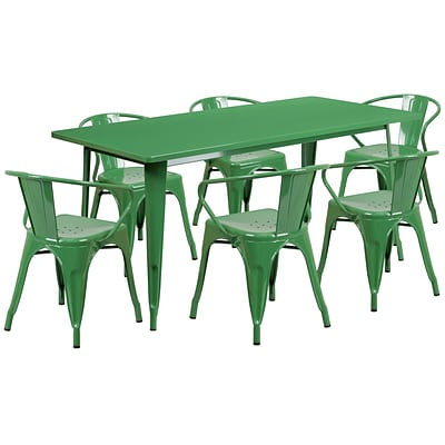 Flash Furniture 31.5 x 63 Rectangular Green Metal Indoor-Outdoor Table Set with 6 Arm Chairs (ET-CT005-6-70-GN-GG)