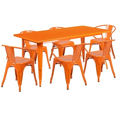 Flash Furniture 31.5 x 63 Rectangular Orange Metal Indoor-Outdoor Table Set with 6 Arm Chairs (ET-CT005-6-70-OR-GG)