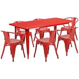 Flash Furniture 31.5 x 63 Rectangular Red Metal Indoor-Outdoor Table Set with 6 Arm Chairs (ET-C