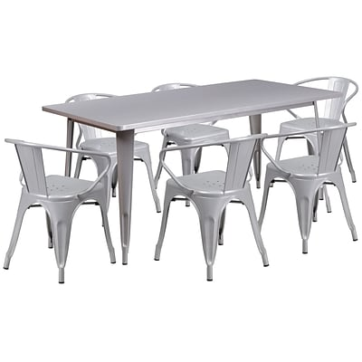 Flash Furniture 31.5 x 63 Rectangular Silver Metal Indoor-Outdoor Table Set with 6 Arm Chairs (ET-CT005-6-70-SIL-GG)