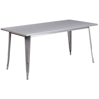 Flash Furniture 31.5 x 63 Rectangular Silver Metal Indoor-Outdoor Table (ET-CT005-SIL-GG)