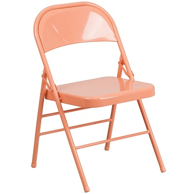 Flash Furniture HERCULES COLORBURST Series Sedona Coral Triple Braced & Double Hinged Metal Folding Chair (HF3-CORAL-GG)