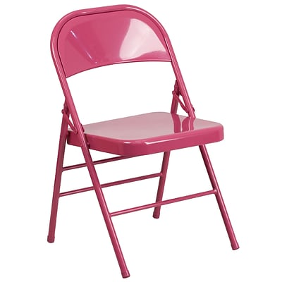 Flash Furniture HERCULES COLORBURST Series Shockingly Fuchsia Double Hinged Metal Folding Chair (HF3-FUCHSIA-GG)