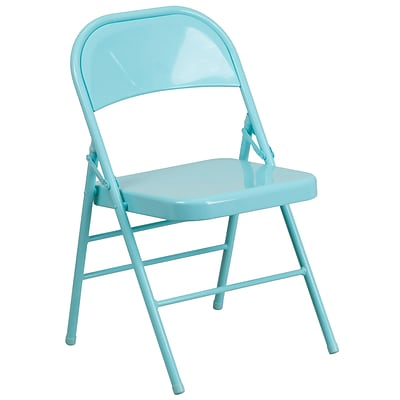 Flash Furniture HERCULES COLORBURST Series Tantalizing Teal Triple Braced & Double Hinged Metal Folding Chair (HF3-TEAL-GG)