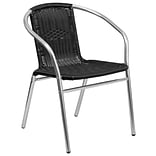 Flash Furniture Aluminum and Black Rattan Commercial Indoor-Outdoor Restaurant Stack Chair (TLH-020-