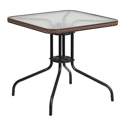 Flash Furniture 28 Square Tempered Glass Metal Table with Dark Brown Rattan Edging (TLH-073R-DK-BN-GG)
