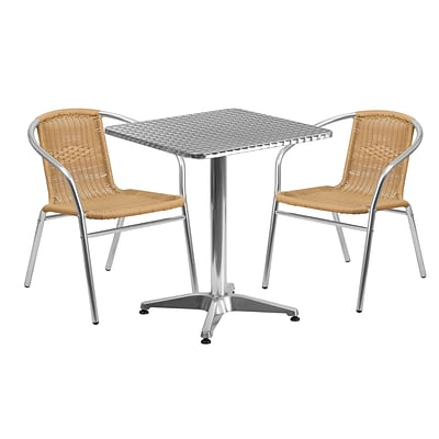 Flash Furniture 23.5 Square Aluminum Indoor-Outdoor Table with 2 Beige Rattan Chairs (TLH-ALUM-24SQ-020BGECHR2-GG)
