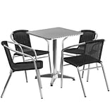 Flash Furniture 23.5 Square Aluminum Indoor-Outdoor Table with 4 Black Rattan Chairs (TLH-ALUM-24S