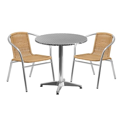 Flash Furniture 27.5 Round Aluminum Indoor-Outdoor Table with 2 Beige Rattan Chairs (TLH-ALUM-28RD-020BGECHR2-GG)