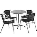 Flash Furniture 27.5 Round Aluminum Indoor-Outdoor Table with 4 Black Rattan Chairs (TLH-ALUM-28RD