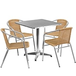 Flash Furniture 27.5 Square Aluminum Indoor-Outdoor Table with 4 Beige Rattan Chairs (TLH-ALUM-28S
